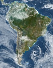 Satellite view of South America